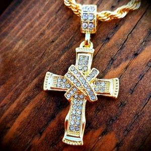 Mens gold cross necklaces on poshmark 14k gp iced out ribbon cross necklace aloadofball Images